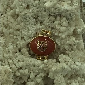 Jewelry - 🍒14K Red Jade Greek Key Hole & Dragon Pendant